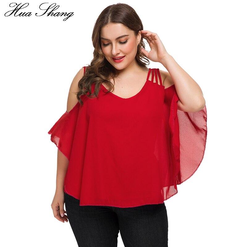 Plus Size Chiffon Blouses 2019 Women Summer V Neck Cold Shoulder Strap Blouse Elegant V Back Loose Oversized Ladies Tunic Tops