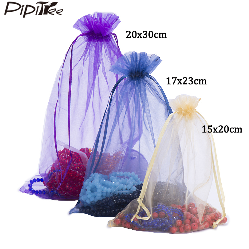 100pcs 15x20 17x23 20x30 30x40cm Big Size Organza Bags Wedding Christmas Gift Bag Jewelry Packaging Display & Jewelry Pouches(China)