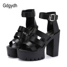 Gdgydh 2019 New Summer Shoes Women White Open Toe Button Belt Thick Heel Wedges Platform Shoes Fashionable Casual Sandals Female(China)
