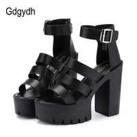 Free Shipping 2015 Summer White Open Toe Shoe Women Button Belt Thick Heel Wedges Platform Fashionable