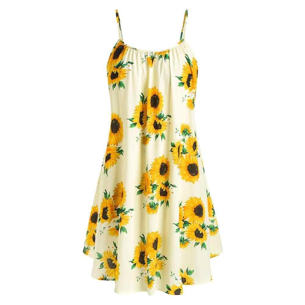 Ropa mujer 2019, сексуальное женское летнее платье-майка в стиле бохо, пляжное платье без рукавов, сарафан с принтом подсолнуха для девочек, Прямая доставка C