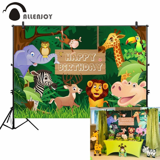 Allenjoy photography backdrop Animal Forest Cartoon wood frsme Cute Happy Birthday children photo background photocall wallpaper