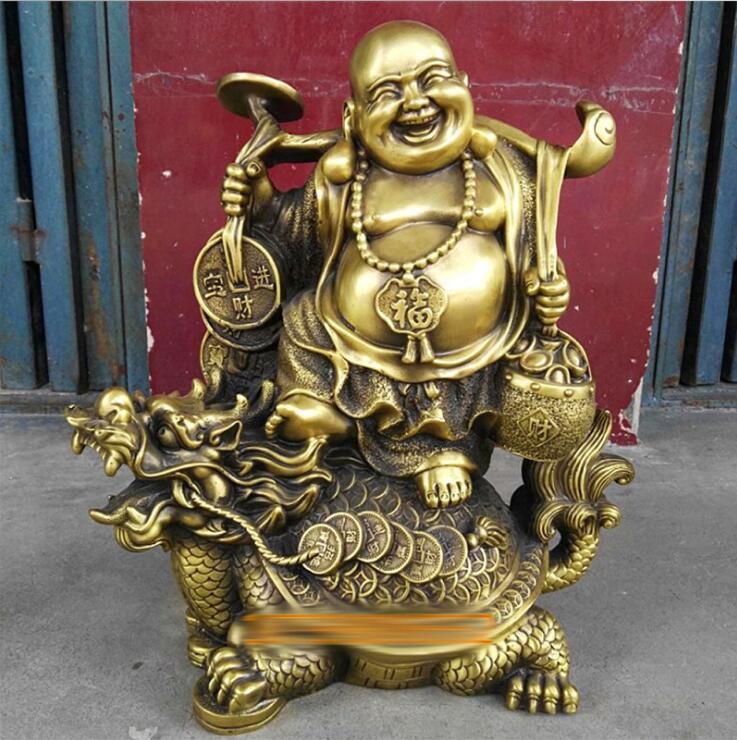 Chinese Copper Wealth Money Happy Laugh Maitreya Buddha On Dragon Turtle StatueChinese Copper Wealth Money Happy Laugh Maitreya Buddha On Dragon Turtle Statue