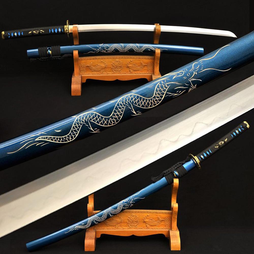 Full Tang Shirasaya Sword Damascus Katana Clay Tempered Real Hamon Sharp Blade