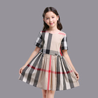 HSSCZL Girls summer 2019 new dress European and American short sleeved stitching princess dress cotton Round neck 3 10Y