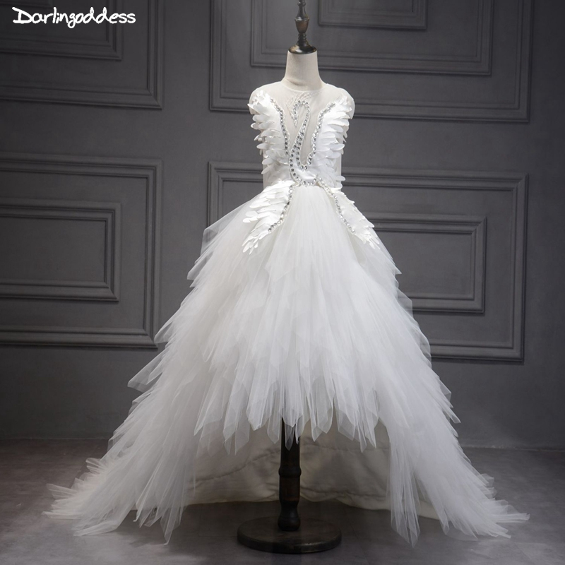 Swan Ball Gown   Flower     Girls     Dresses   for Weddings White Pink High Low Evening Party   Dress   for   Girls   Kids Formal Prom   Dresses   2018