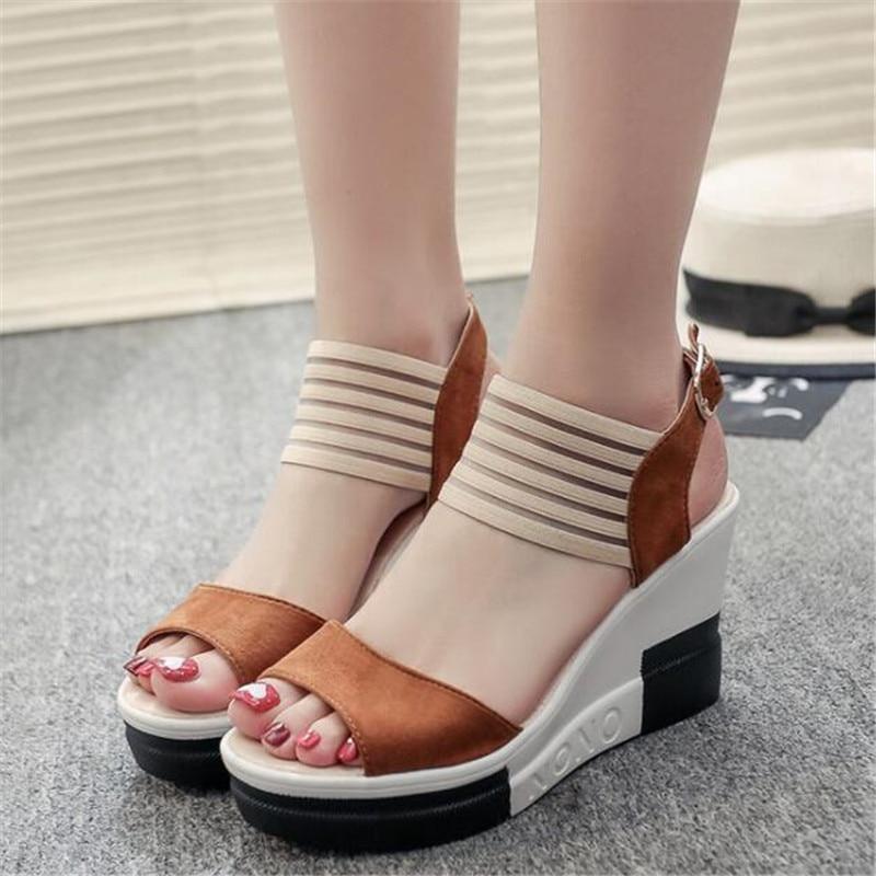 New Platform Sandals 2019 Fashion Women Sandal Wedges Shoes Leopard Casual Woman Peep Toe