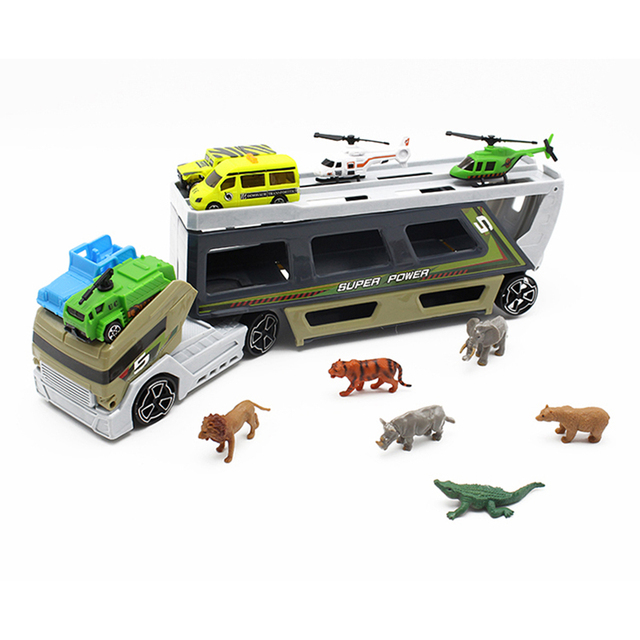 11pcs/lot Portable Plastic Container Truck Alloy Car Animal Helicopter Model Toys Metal Cars toys for Children kid Birthday Gift