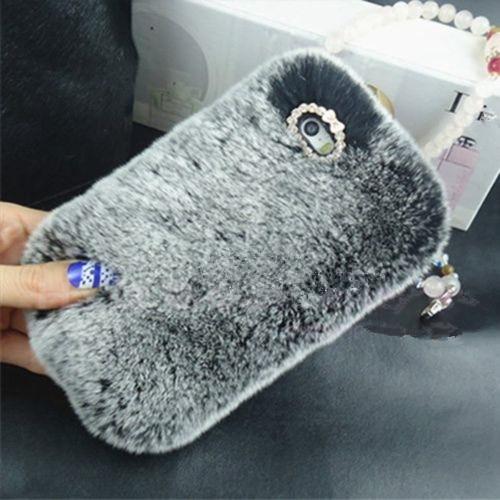 LaMaDiaa Fashion Luxury Warm Soft Rabbit Fur Skin Funda para Samsung - Accesorios y repuestos para celulares - foto 3