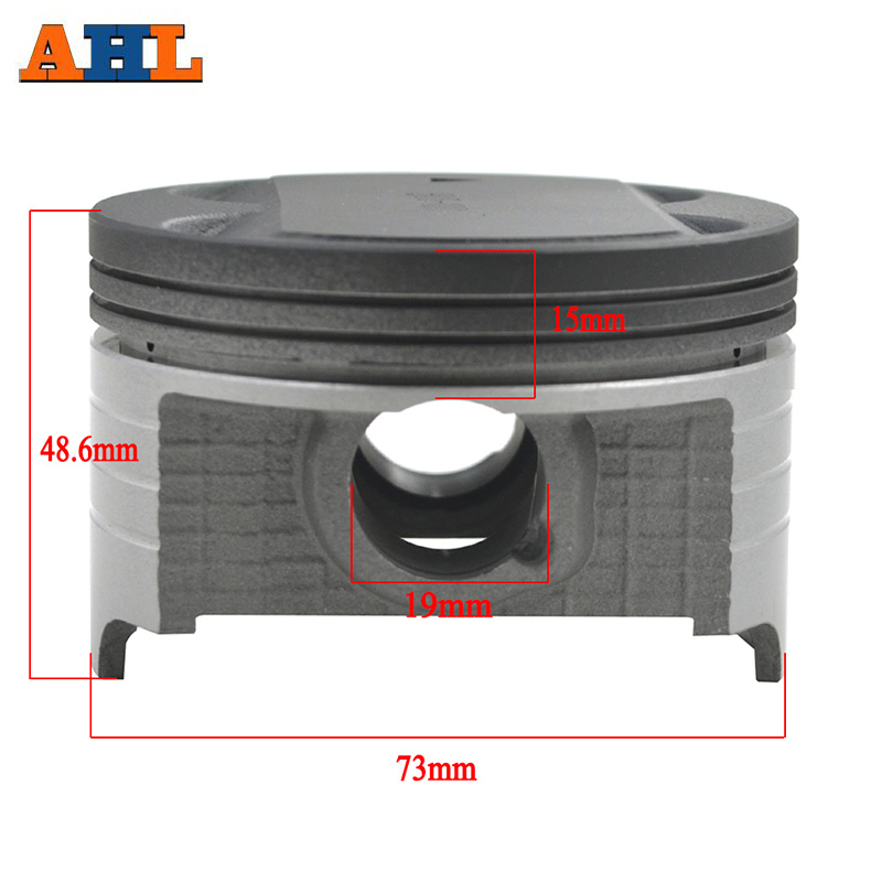 AHL Bore Size STD ~+150 73mm ~74.5mm Motorcycle Parts Piston Set Rings Clip Kit For Suzuki AN250 1998-2006 DR250 1990-1995
