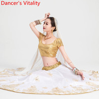 Новое поступление 2019 года живота Oriental индийский танец выступления костюм для соревнований белый золотой комплект большой подол юбка Топ Ву