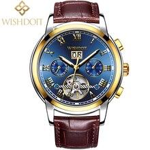 WISHDOIT Mens Watches Top Brand Luxury Automatic Mechanical Watch Men Business Waterproof Sport Watchs relojes hombre Male clock