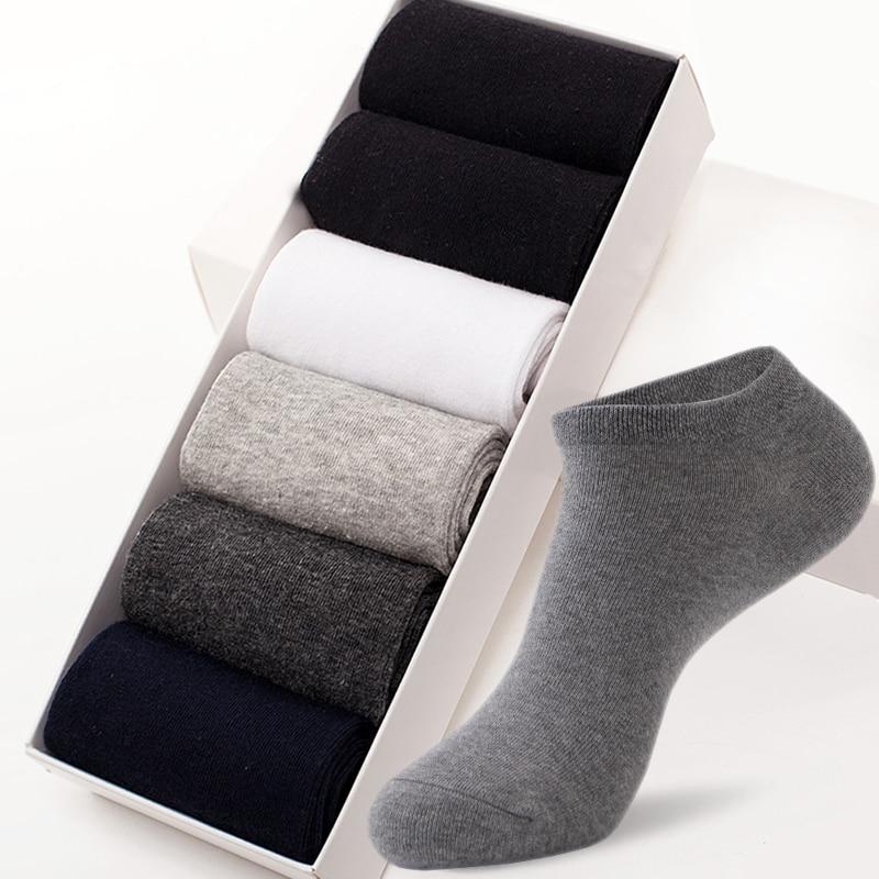 a84e69d9b17 Высокое качество Весна лето мужские хлопчатобумажные носки голеностопные  носки бизнес мужской носок тонкий черный Досуг сплошной цвет кор.