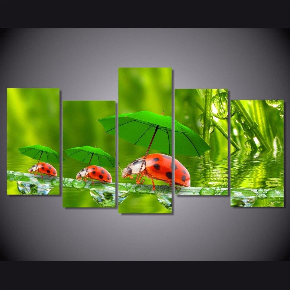 5 pièces/ensemble encadrée HD imprimé drôle coccinelles photo mur Art toile impression chambre décor affiche toile peinture mur