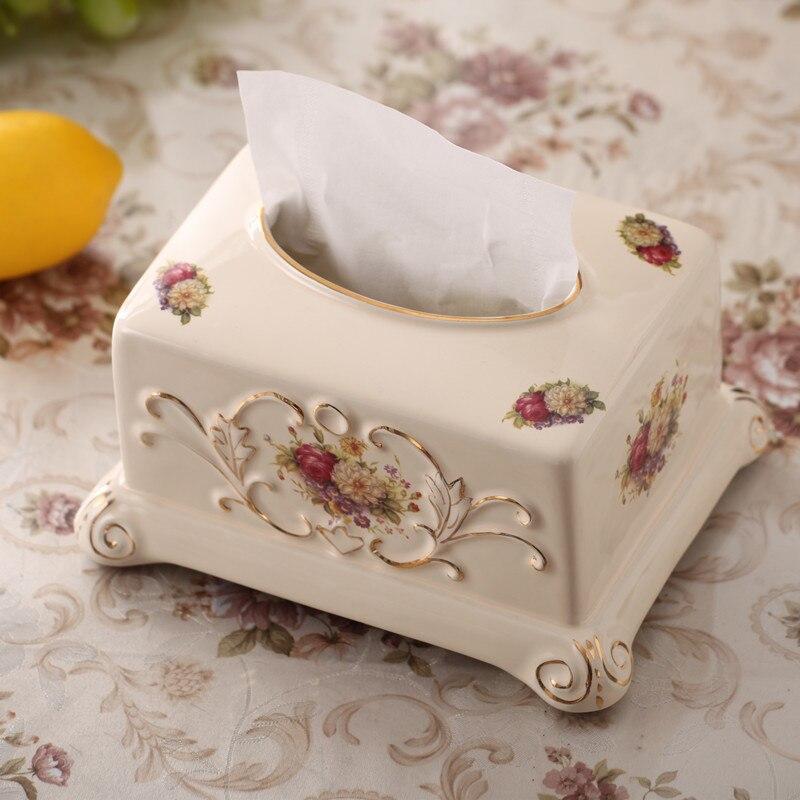 Роскошный керамический тканевый ящик Европейский китай кость съемный тканевый держатель для салфеток украшение дома гостиничные принадле...