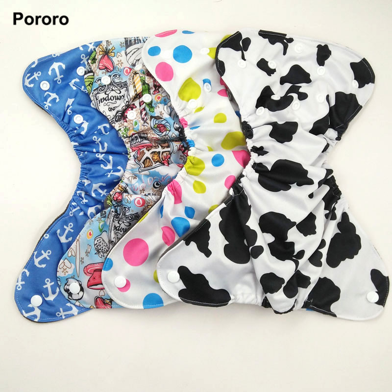 Pororo 5pcs Newborn Baby Cloth Diaper With Inner Gusset, 3-6kg Baby Bamboo Charcoal Diapers