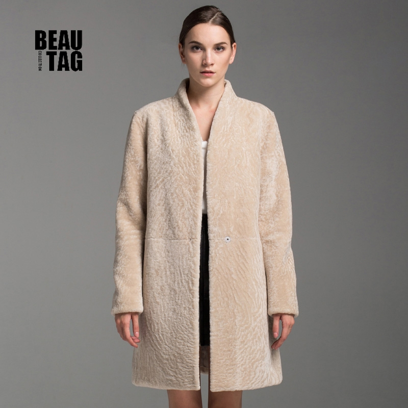 2015 Korean Style Women's Real Fur Shearling Coat Genuine Sheep ...