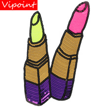 embroidery sequins lipstick patches for jackets,lips badges jeans,appliques coats A220