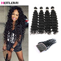 Brazilian Deep Wave Virgin Hair With Closure 4 Bundles Deep Wave Curly Virgin Hair With Closure Tissage Bresilienne Avec Closure