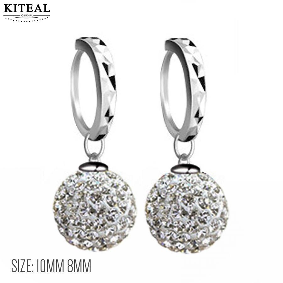 KITEAL New Wholesale Fashion crystal Earings 8mm 12mm full Drill Ball Silver Earrings Shambala jewellry For Women Girl Jewelry ...