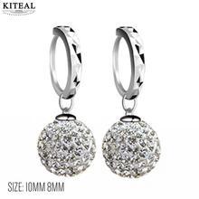 ФОТО kiteal new wholesale fashion crystal earings 8mm 12mm full drill ball silver earrings shambala jewellry for women girl jewelry