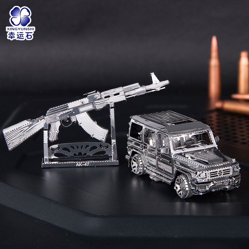 3D Metal Puzzle Game Jeep AK 47 Metal Toy Gun Model Car DIY Finger Educational Toys Jigsaw Gifts For Children & Adult