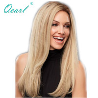 Qearl 2#/613# Full Lace Wig Blonde Ombre Color Human Hair Wigs Brazilian Remy Hair Lace Wig Two Tone Straight Pre Plucked