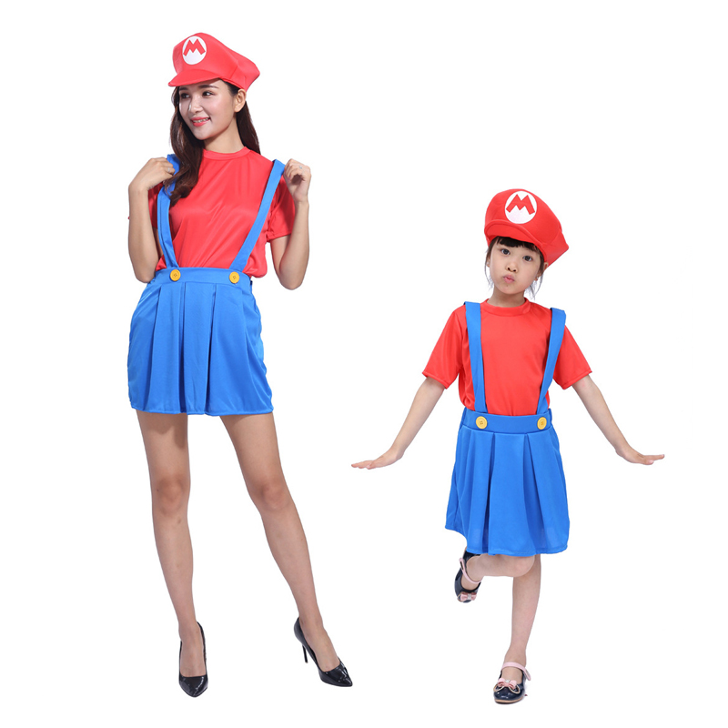 Hot Game Super Mario cosplay Cloth Suit Hat + T-shirt + Skirt Carnival Party Holloween Costumes for Women and Girls