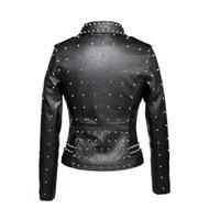 Top Quality Leather Coat Female 2018 New Winter Black Motorcycle Leather Jackets Women Gold Rivet Punk Style Short Jacket