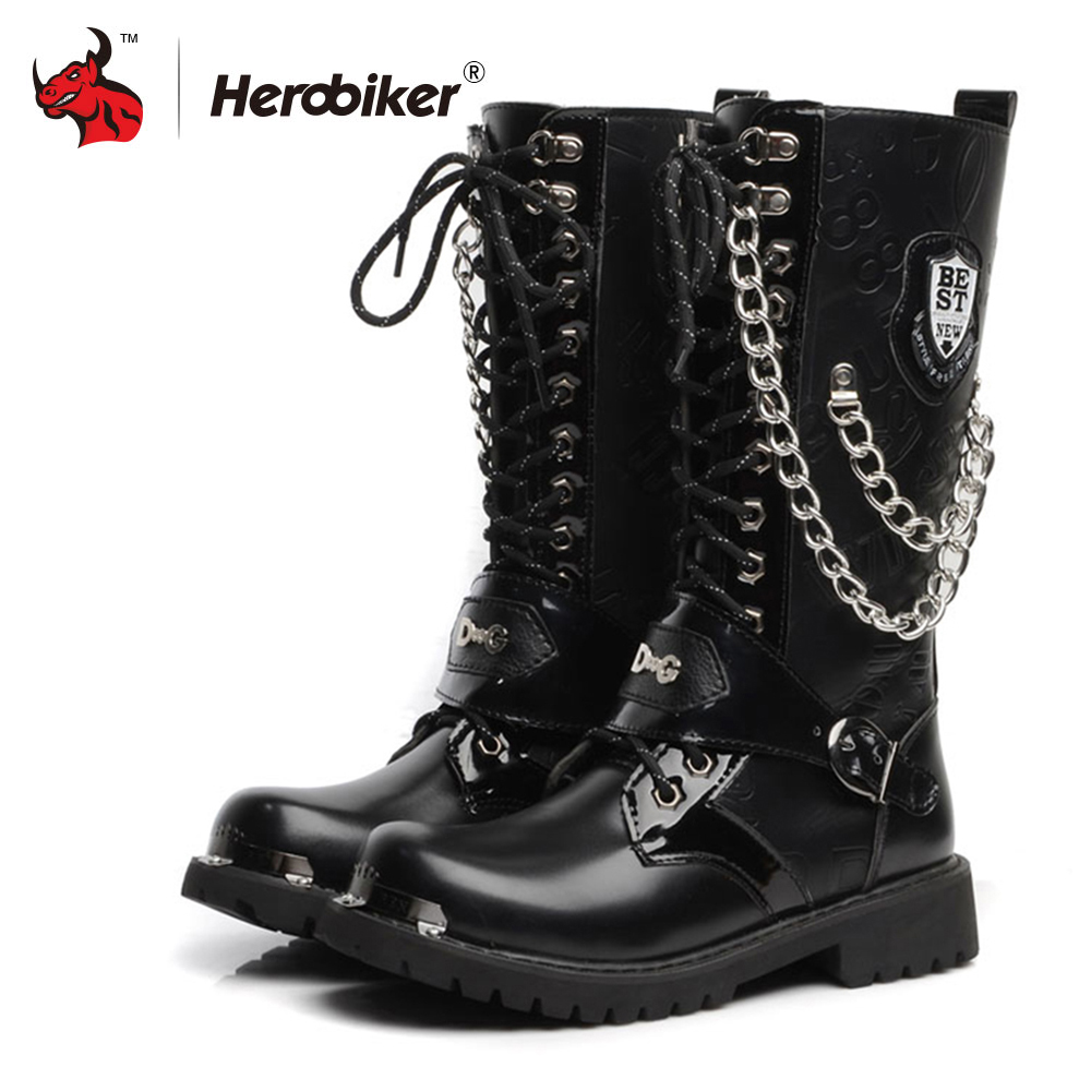 HEROBIKER Motorcycle Boots Men Personality Motocross Boots Motorbike Retro Artificial Leather Moto Shoe Punk Martin Shoes Black