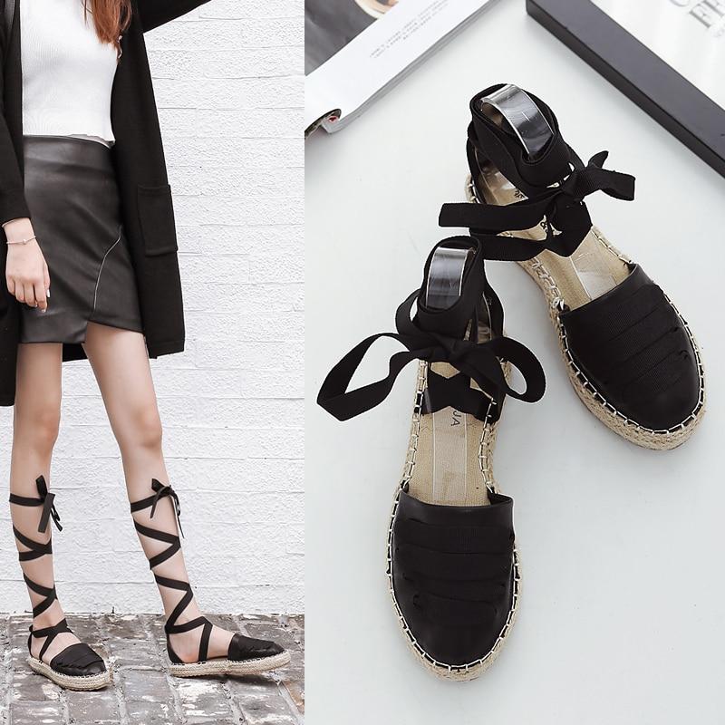 ФОТО 2017 Gladiator Sandals Women Ladies Shoes Espadrilles Flat Heels Fashion Designer Platform Sandals Womens Beach Lace Up Shoes