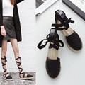 2017 Gladiator Sandals Women Ladies Shoes Espadrilles Flat Heels Fashion Designer Platform Sandals Womens Beach Lace Up Shoes