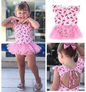Sweet Cute Newborn Baby Girls Swimsuit Pink Flamingo Printed Backless One-piece Swimwear Dress Romper Bathing Suit 0-2T(China)