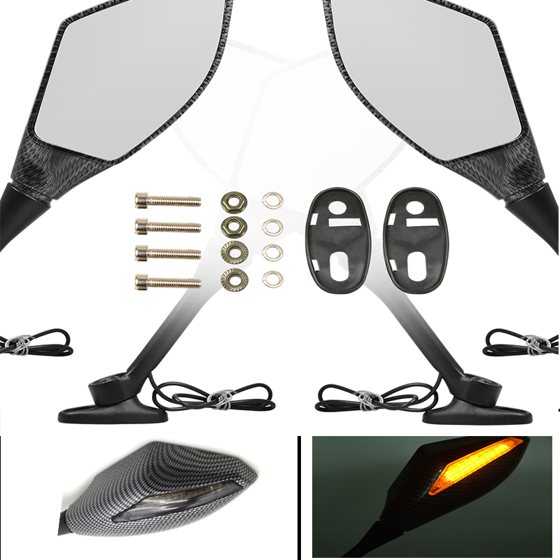 Universal Motorcycle Rearview Mirror LED Turn Signals Integrated Moto Side Mirror For Honda Kawasaki Suzuki CSL2017