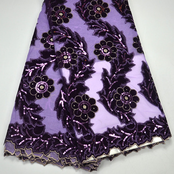 Latest Elegant High Quality Purple French Net lace with Velvet lace Fabrics With 3D Flowers Fabrics For Bridals Purple lace