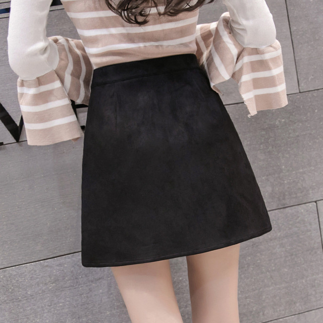 Black Elegant Office Lady Solid Color Front Zipper Mid High Waist Skirts Spring Winter Women Suede Leater Package Hip Skirt 2