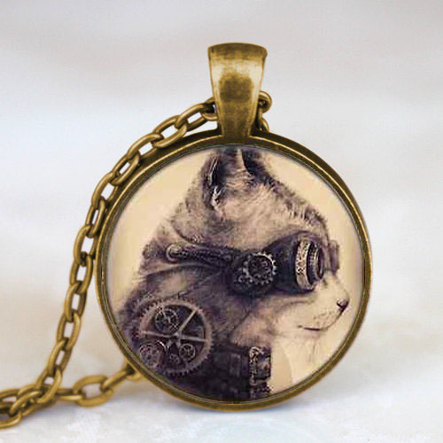 US Movie Mechanical Clock Cat Handmade Necklace silver Pendant steampunk Jewelry Gift women chain mens alice in wonderland toy