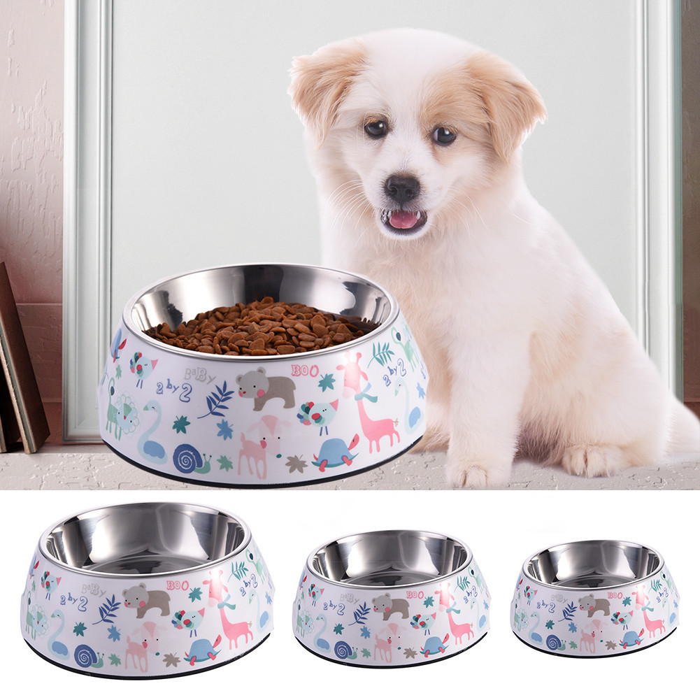 French Bull Animal Pattern Pet Bowl with Removable Melamin Stainless Steel and Melamine Designer Dog Bowls Pet Dog Cat Supplies