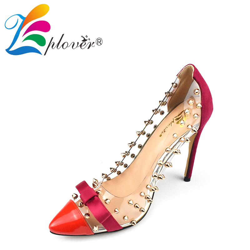 Zplover Sexy Red Pointed Toe Women Pumps 2017 New Fshion High Heel Shoes Thin Heels Ladies Pumps Woman Wedding Party Shoes sexy women semi transparent lace high heels new 2017 ladies sequin shoes slip on thin heel pumps free shipping