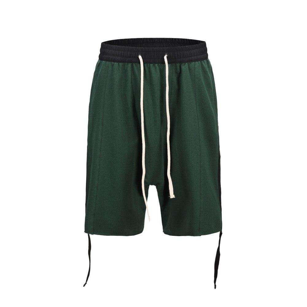 High Street 2019 Summer Side Loose Fit Shorts Hip Hop Mens Casual Baggy Vintage Green Shorts Streetwear Harajuku Swag Shorts