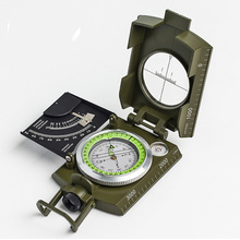 New Professional Military Army Metal Sighting Compass Clinometer Camping Scale Spirit Level Night Vision Magnifier