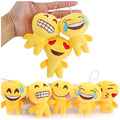 20pcs/lot 10cm New Emoji Small Pendant Smiley Emoticon Soft Plush Toys Key Bag Phone Kawaii Peluche Pendants Random Style
