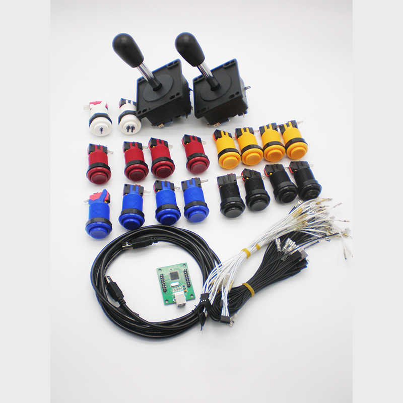 DIY Arcade Parts Bundel Kit Dengan Amerika Joystick, Tombol Tekan, Microswitch, 2 Player USB Ke Jamma Board