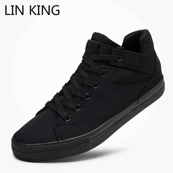 1 6 female body long sleeve shirts short pants male lace up sneakers high top shoes LIN KING New Lace Up Men Vulcanized Shoes High Top Outdoor Casual Canvas Shoes Non Slip Man Sneakers Male Height Increase Shoes
