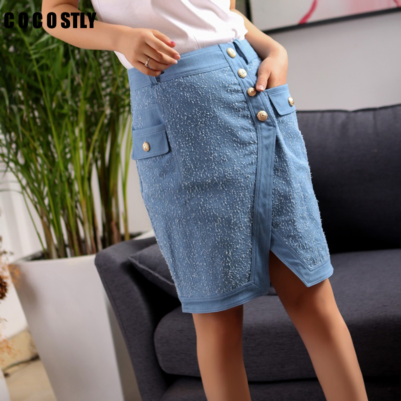 Rodilla Shown Lápiz Sólido Casual Botón Oficina Recta Denim longitud Falda Midi Jeans Mujeres Sexy Bodycon As 0Z1F8F