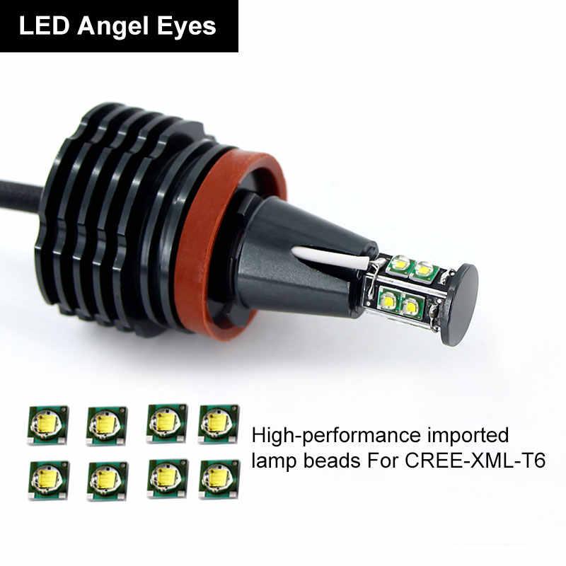 2pcs Car Angel Eyes light Headlight Lamp white red blue fog lights H8 Headlamps Led CANBUS for BMW E90 E92 E82 E60 E70 X5 E71 X6