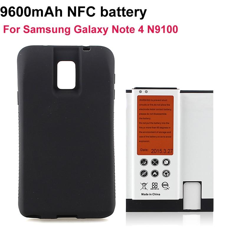 imágenes para Nota4 Teléfono Celular NFC batteria 9600 mAh Para la Galaxia Nota 4 N9100 Batería de Reemplazo Extendido + Negro Asunto cubierta