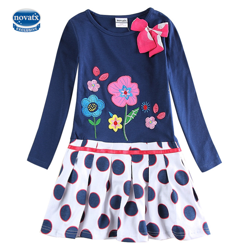 Girls flower frocks children clothes nova factory floral embroidery top selling long sleeve dresses baby girls kids wear dresses wide sleeve color block floral top