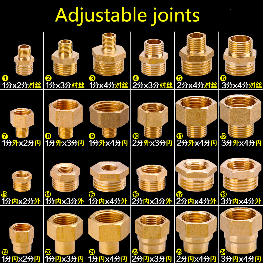 1/8 inch <font><b>1/4</b></font> inch 3/8 inch 1/2 inch male threaded brass fitting hex nipple connector <font><b>BSP</b></font> Male Thread Connector Quick Adapter image