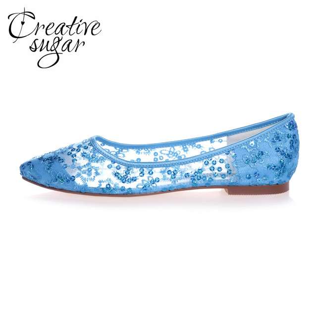 e8eac5eeb080 Creativesugar Pointed toe perspective see through lace ballet flats  sparkling sequins shoes sky blue pink red ivory white gold